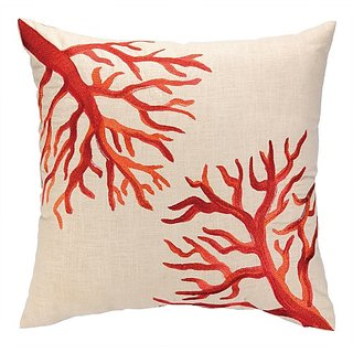 D.L. Rhein Coral Reef Embroidered Decorative Pillow, 20 by 20-Inch