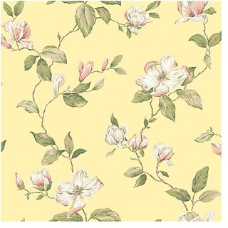 York Wallcoverings AK7508 Ashford House Blooms Magnolia Wallpaper, Yellows