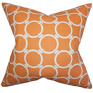 The Pillow Collection P20-PP-LINKED-APACHEORANGE_MAC Betchet Geometric Pillow, Orange, 20
