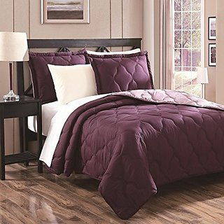 Chic Home Parker 3-Piece Oval Quilt Set, Purple, Queen
