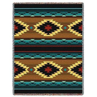 Southwest Geometric Turquoise Throw Blanket 70