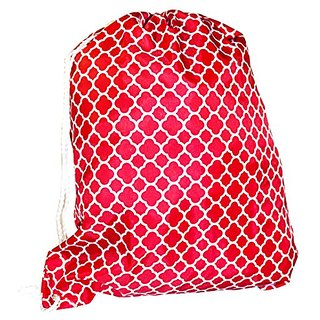 Ever Moda Pull String Backpack, Red Quatrefoil Moroccan (19-inch)
