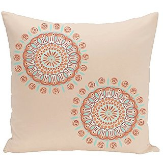 E By Design Sea Flower Geometric Print Outdoor Pillow, 20-Inch, Burnt