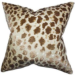 The Pillow Collection P20-ART-USR-WILD-BROWN Hepzibah Animal Print Pillow, Brown, 20