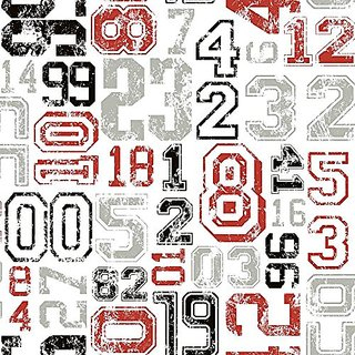 York Wallcoverings KS2362 Cool Kids Varsity Number Wallpaper, White/Red/Black/Grey