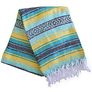Del Mex (TM) Mint Sea Foam, Teal, and Yellow Mexican Blanket Vintage Style (Sol)