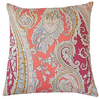 The Pillow Collection Efharis Paisley Coral Reef Pillow, 20