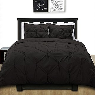 Cotton Basics Cottonesque Pintuck Duvet Cover Mini Set, Twin, Solid, Black