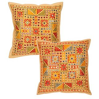 Indian Design Multicolor Pillow Shams 16x16 Bed Room Decor Floral Cotton Throw Pillows Classic Set Of 2 Cushion Covers E