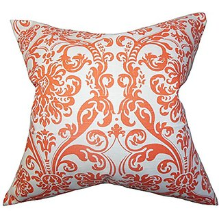 The Pillow Collection Saskia Damask Pillow, Orange