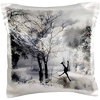 3dRose Winter Figure Skating on a Frozen Lake - Pillow Case, 16 by 16-inch (pc_164730_1)