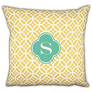 Whitney English Bloom Square Pillow with Single Initial, A, Multicolor