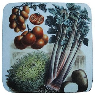 Golden Hill Studio Celery/Tomatoes Coaster (Set of 8), Multicolored