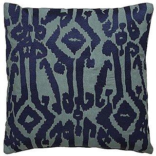 Jaipur Tribal Pattern Blue Cotton Down Filled Pillow, 18