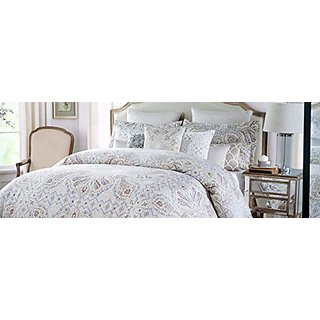 Tahari Bedding 3 Piece King Duvet Cover Set Paisley Pattern Red Tan White Blue on Beige