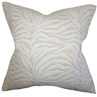 The Pillow Collection P20-ART-PRS-FLMA-IVY Danya Geometric Pillow, White, 20