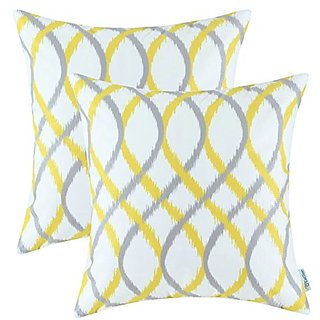 Set of 2 Euphoria CaliTime Home Decor Cushions Covers Pillows Shells Comfortable Fleece Modern Two-tone Waves Geometric