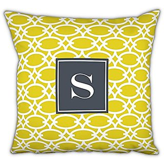 Whitney English Fretwork Square Pillow with Single Initial, M, Multicolor