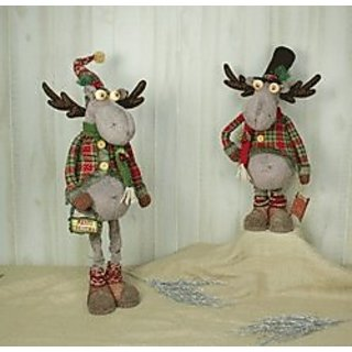 Hannas Handiworks Holly Plaid Moose Stretch Leg Set of 2