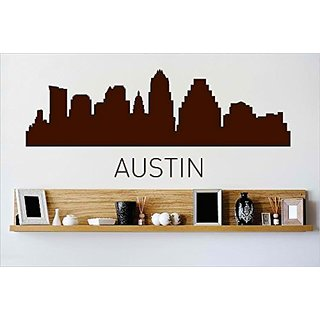 Design with Vinyl Cryst 434 896 Brown Austin Texas Skyline City View Beautiful Scene Landmarks, Buildings and Water Viny