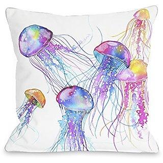 Bentin Home Decor Jellyfish Throw Pillow w/Zipper by Ana Victoria Calderon, 18