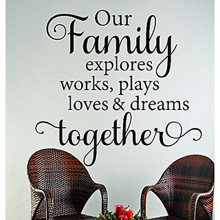 Design with Vinyl RAD 627 3 Our Family Explores Works, Plays Loves & Dreams Together Inspirational Life Quote Vinyl Wall