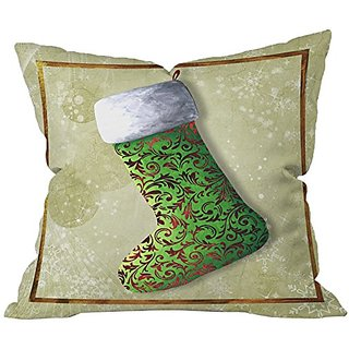 DENY Designs Madart Inc. Vintage Stocking 1 Throw Pillow, 18 x 18