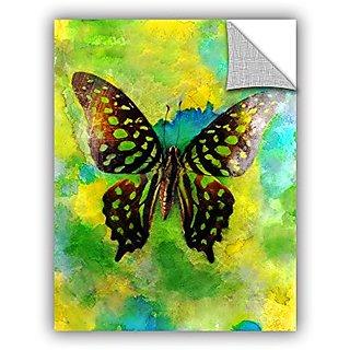ArtWall Elana Rays Butterfly Green/Blue Art Appeelz Removable Graphic Wall Art, 18 x 24