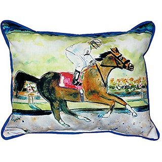Betsy Drake Racing Horse Indoor/Outdoor Pillow, 20