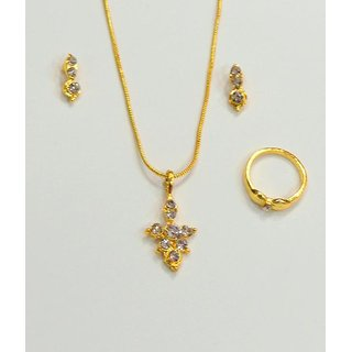 Golden Delicate Necklace With Earring And Ring. GLITZY BY ROOHIE