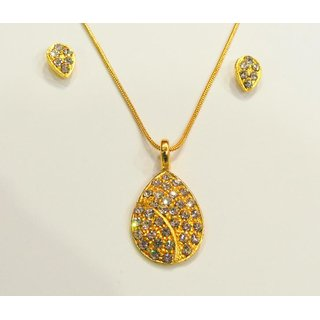 Delicate Drop Golden Necklace With Earrings.GLITZY BY ROOHIE