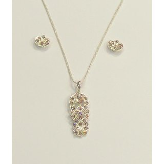 Delicate Silver Design Pendent Necklace With Earrings.GLITZY BY ROOHIE