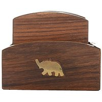 Kapasi Handicrafts Elephant Wooden Coasters For Tea, Coffe,Table Coaster Set With Holder For Glasses, Bar Coasters, Cup