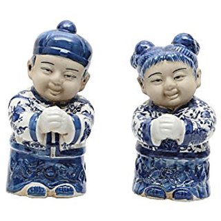Winward Designs Ceramic Chinese Boy and Girl Figurines Set, 8-Inch, Blue/White, Set of 2