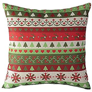 Cotton Linen Stripes Throw Pillow Case Comfortable Cushion Cover 18 Inch Christmas New Year Xmas Home Decor(Green-Red)