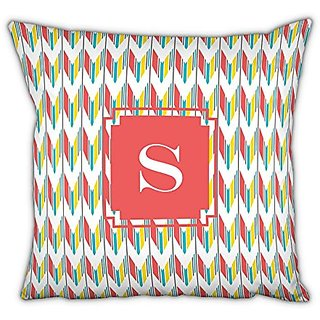 Dabney Lee Arrowhead Square pillow with Single Initial, B, Multicolored