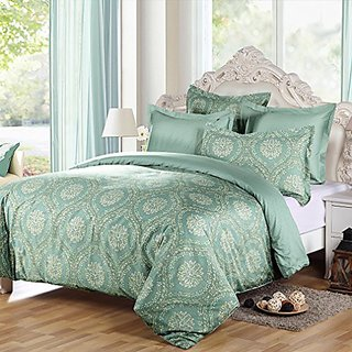 LANSIU Egyptian Cotton Duvet Cover Queen Set, Sage Green Medallion Floral Bedding, Reversible Printing with 400 Thread C