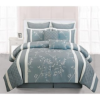 Duck River Textiles 8 Piece Bank Comforter Set, Light Blue, Queen