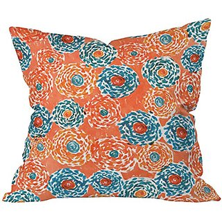 DENY Designs Loni Harris Twirly Blossoms Throw Pillow, 18 x 18