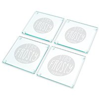 Cathys Concepts Stay Frosty My Friend Glass Coasters (Set Of 4), Clear