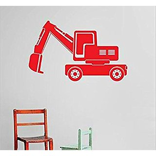 Design with Vinyl Cryst 496 1087 Red Backhoe Tractor Dump Truck Demolish Demolition Construction Operation Equipment Kid