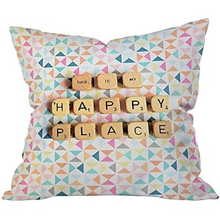 DENY Designs Happee Monkee This Is My Happy Place Throw Pillow, 20 x 20