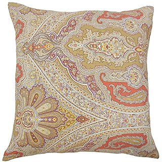 The Pillow Collection Darian Paisley Cinnamon Pillow, 20
