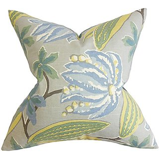 The Pillow Collection Averill Floral Pillow, Blue