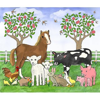 Brewster Jennifer Clark 94503 Pre-pasted Wall Mural Farm Animals, 84.5-Inch Width x 72-Inch Height