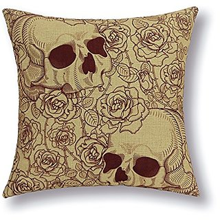 Euphoria Home Decorative Cushion Covers Pillows Shell Cotton Linen Blend Roses Two Skulls 18