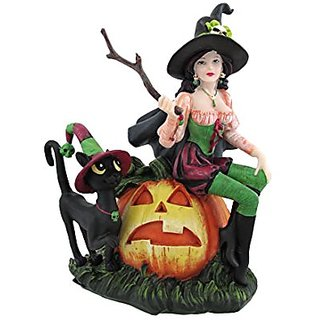 PTC Pacific Gigtware Hallow Halloween Witch with Jack-O-Lantern Statue Figurine, 7