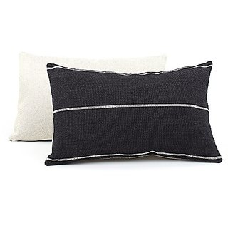 Chloe & Olive Streamline Black Collection Reversible Textured Stripes 12 by 20-Inch Lumbar Decorative Pillow with Feathe