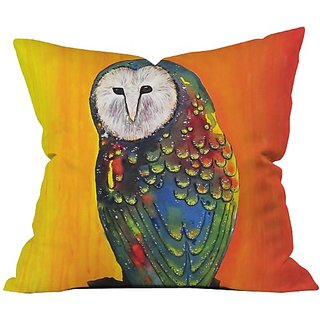 DENY Designs Clara Nilles Glowing Owl On Sunset Throw Pillow, 26 x 26