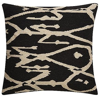 Jaipur Tribal Pattern Gray/Ivory Wool and Cotton Poly Filled Pillow, 20